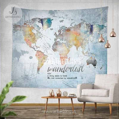 Wanderlust Quote wall Tapestry, World map watercolor wall hanging, Grunge world map wall tapestries, Hippie tapestry wall hanging, bohemian wall tapestries Tapestry