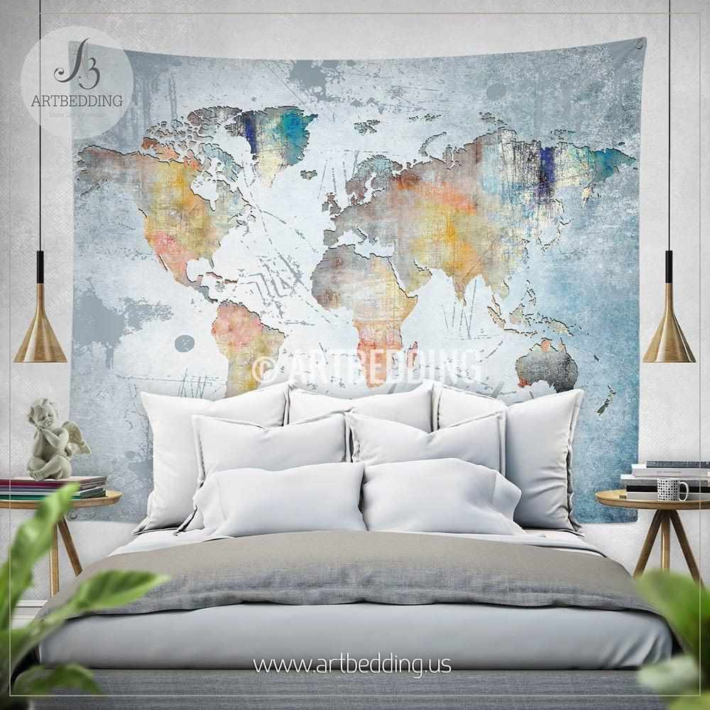 Wanderlust Quote wall Tapestry, World map watercolor wall hanging, on