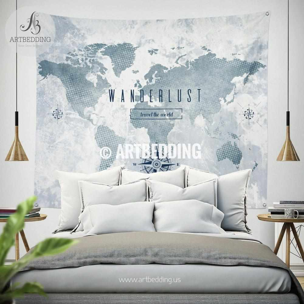 Wanderlust wall Tapestry, World map watercolor wall hanging, Grunge pop art world map wall tapestries, bohemian wall decor Tapestry