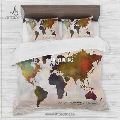 Wanderlust world map bedding, Watercolor world map duvet cover set, Modern wanderlust map comforter set Bedding set