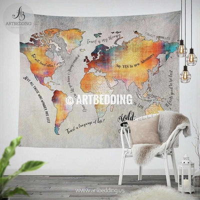 Wanderlust world map wall Tapestry, Boho Adventure map wall hanging, bohemian wall tapestries, boho wall decor Tapestry