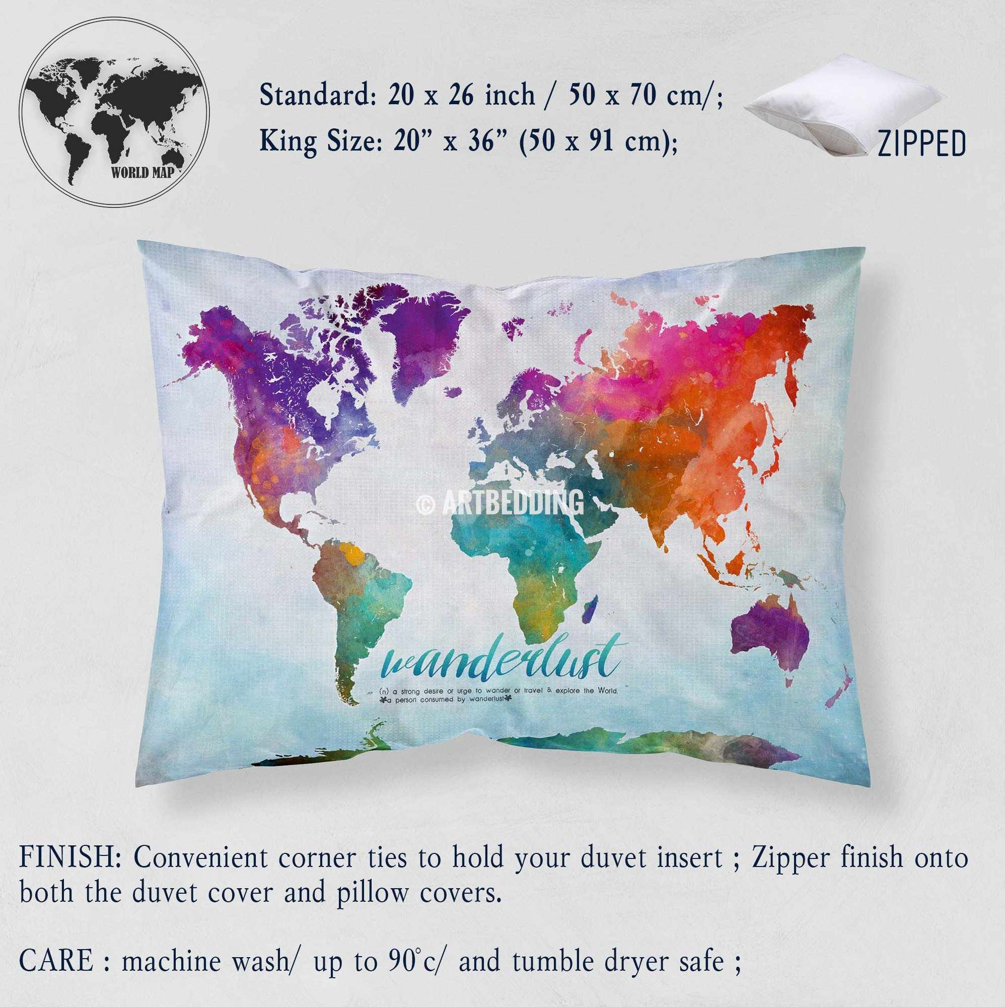 Watercolor map bedding wanderlust bedding world map art duvet wanderlust world map watercolor print bedding world map art duvet cover set bohemian duvet gumiabroncs Gallery