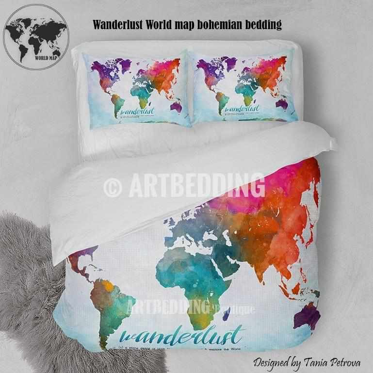 Watercolor map bedding wanderlust bedding world map art duvet wanderlust world map watercolor print bedding world map art duvet cover set bohemian duvet publicscrutiny Image collections