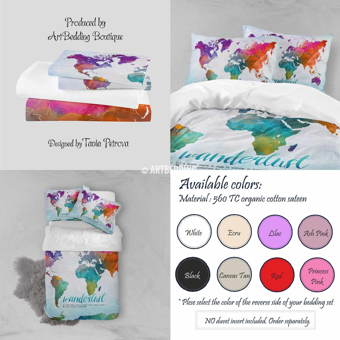 Watercolor map bedding, Wanderlust bedding, World map art duvet cover set, Bohemian duvet cover set, Dorm bedding, watercolor bedroom decor Bedding set