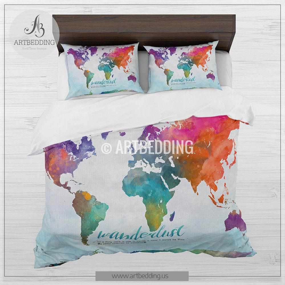 Wanderlust world map bedding, Watercolor World map duvet cover set, Boho  abstract map comforter set
