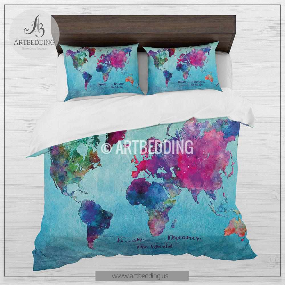 Watercolor world map bedding, Boho blue world map duvet cover set, Abstract  map comforter set