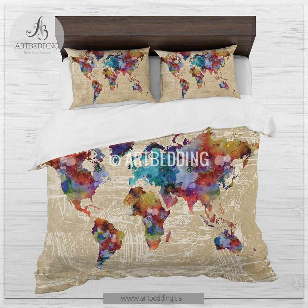 Watercolor world map bedding boho chic watercolor duvet cover set watercolor world map bedding boho chic watercolor duvet cover set grunge splashes duvet cover gumiabroncs Image collections