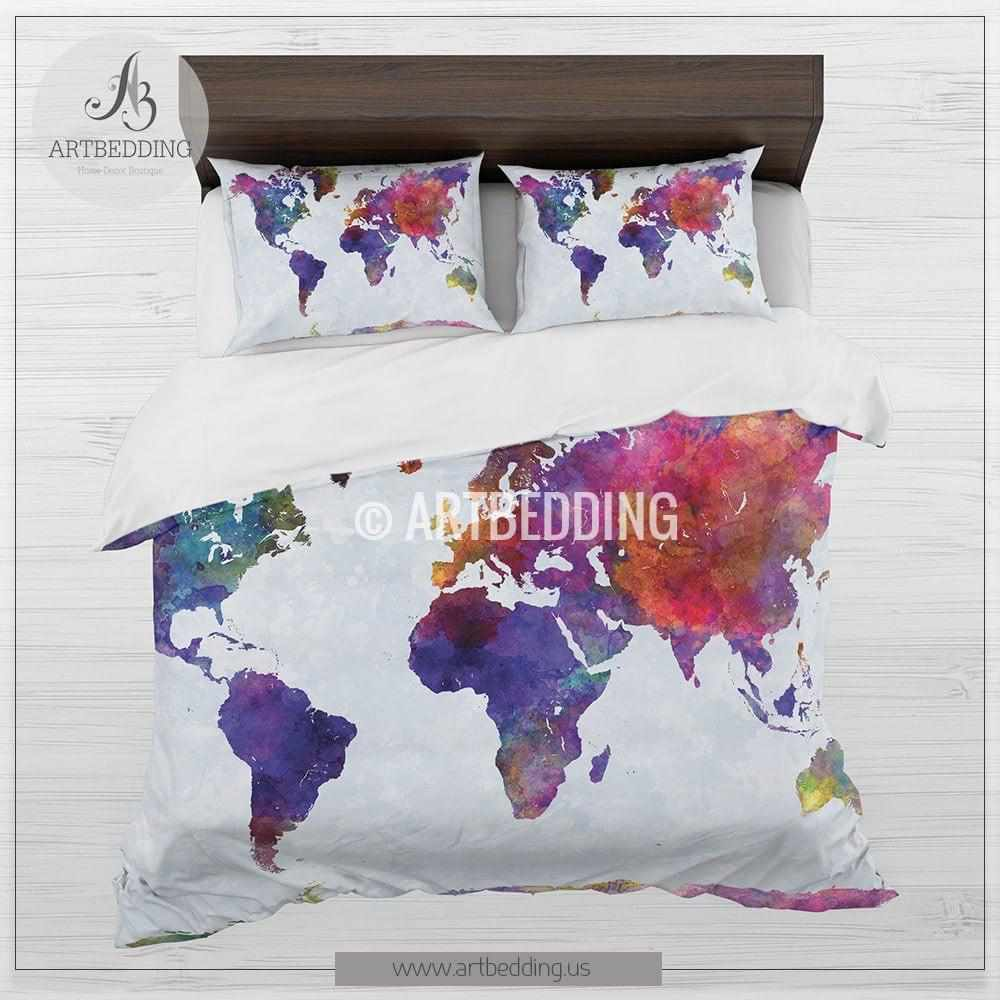 Watercolor world map bedding, Boho chic world map duvet cover set ...