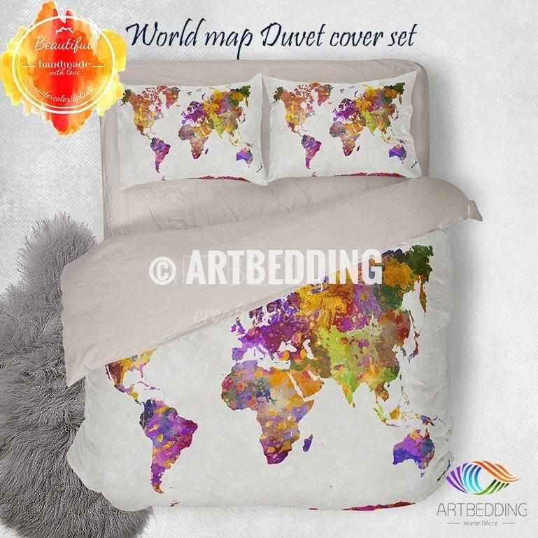 Watercolor world map bedding watercolor art print duvet cover set watercolor world map bedding watercolor art print duvet cover set grunge splashes duvet cover gumiabroncs Choice Image