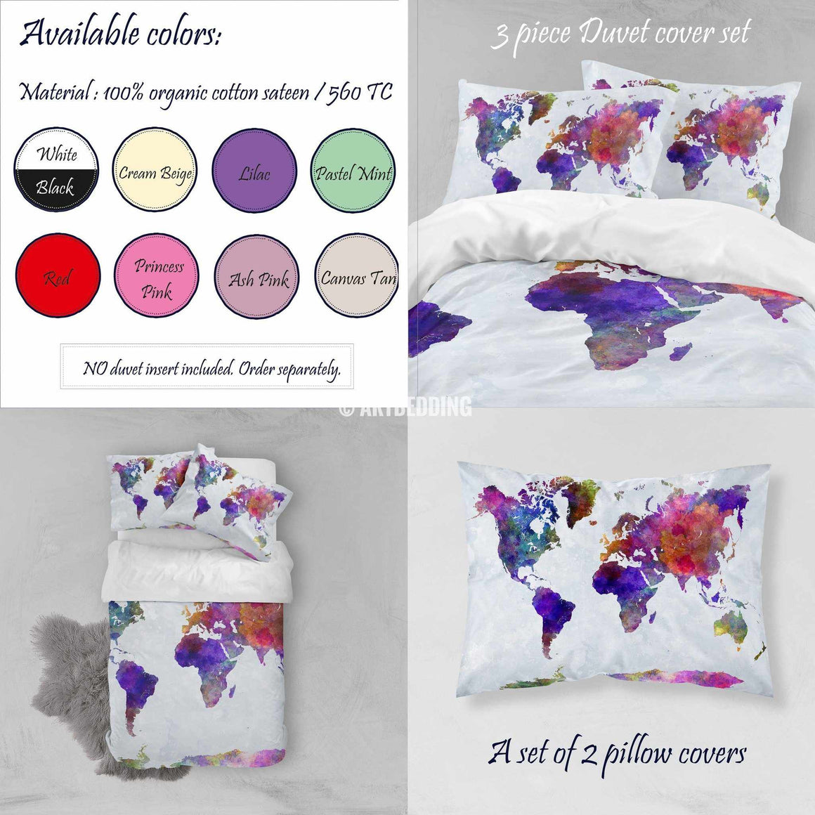 Watercolor world map bedding, Boho chic world map duvet cover set, Paint splashes duvet cover set, College bedding, dorm bedspread Bedding set