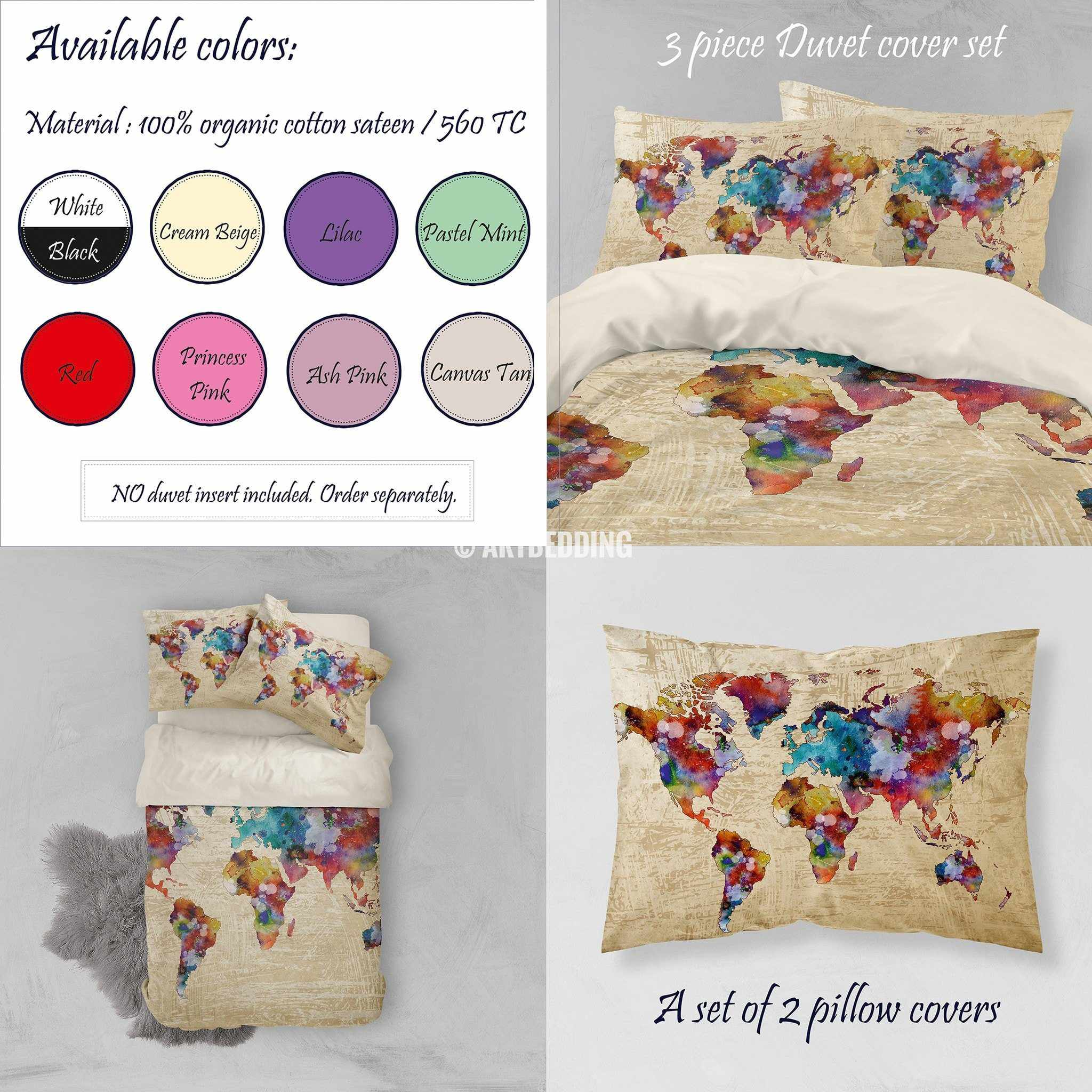 Watercolor world map bedding boho chic watercolor duvet cover set watercolor world map bedding watercolor art print duvet cover set grunge splashes duvet cover gumiabroncs Gallery