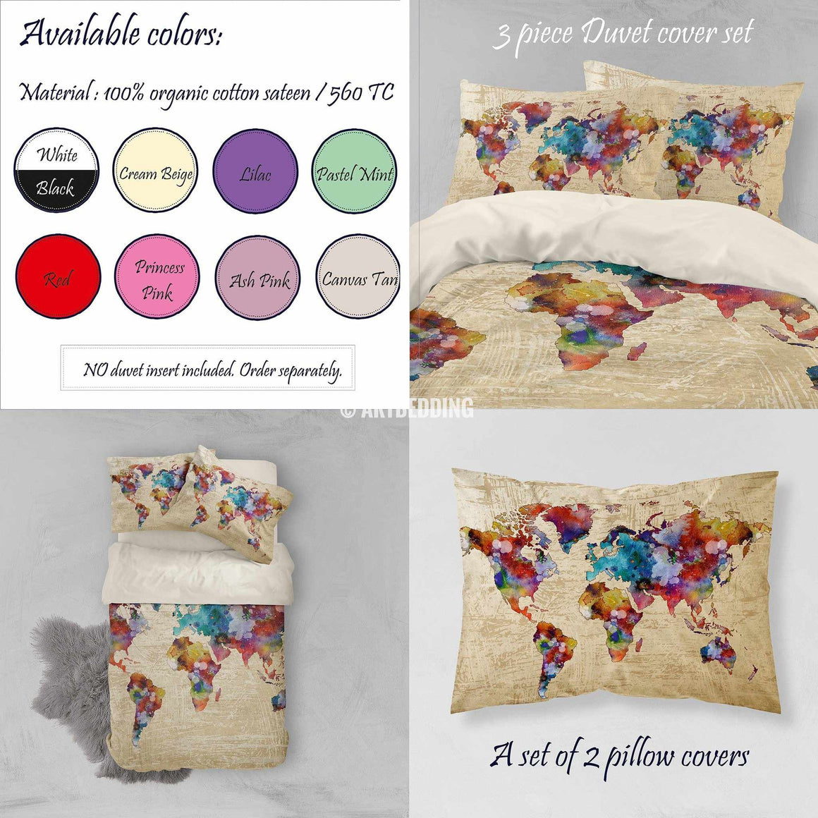 Watercolor world map bedding, Boho chic Watercolor duvet cover set, Grunge splashes duvet cover set, College bedding, dorm bedspread Bedding set