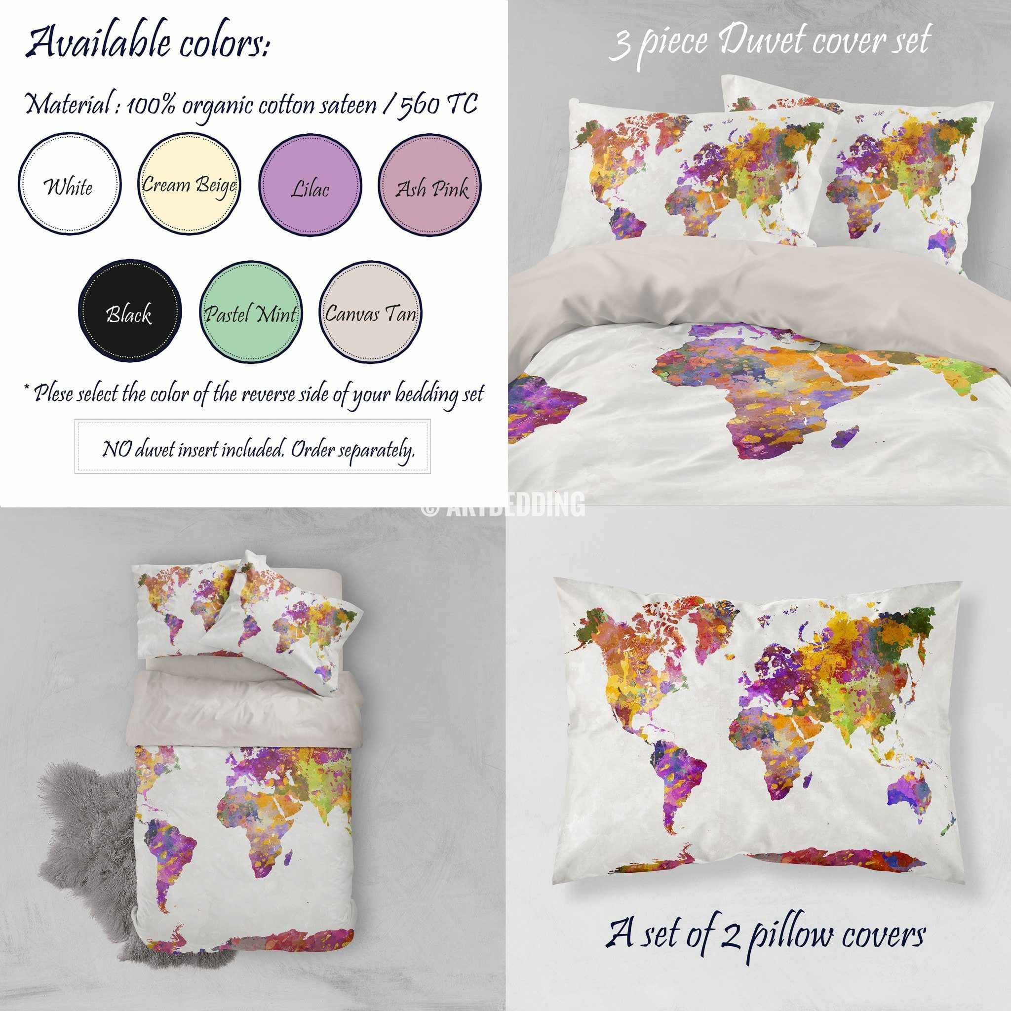 Watercolor world map bedding watercolor art print duvet cover set watercolor world map bedding watercolor art print duvet cover set grunge splashes duvet cover gumiabroncs Gallery