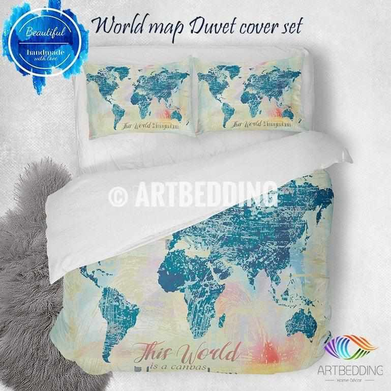 Boho world map bedding watercolor quote duvet cover set modern watercolor world map bedding watercolor print duvet cover set modern splashes art bedding set gumiabroncs Images