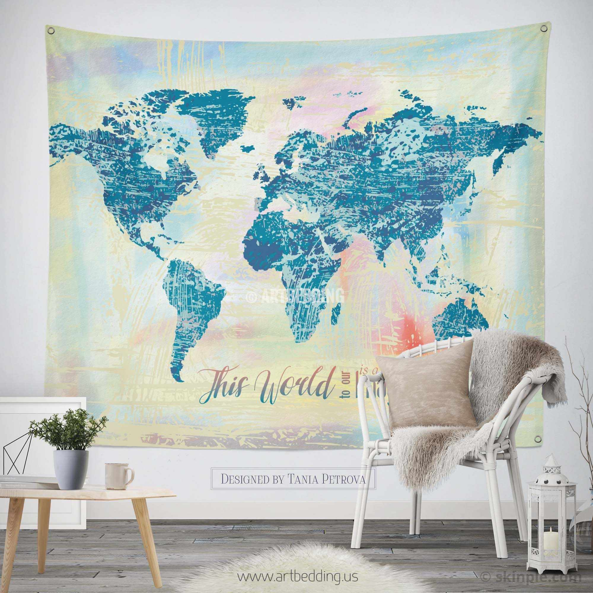 Watercolor World map wall Tapestry, Grunge world map wall tapestry
