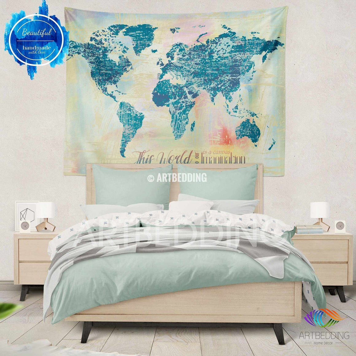 Watercolor World map wall Tapestry, Grunge world map wall tapestry, Hippie tapestry wall hanging, Modern watercolor map tapestries, Watercolor grunge bohemian decor Tapestry
