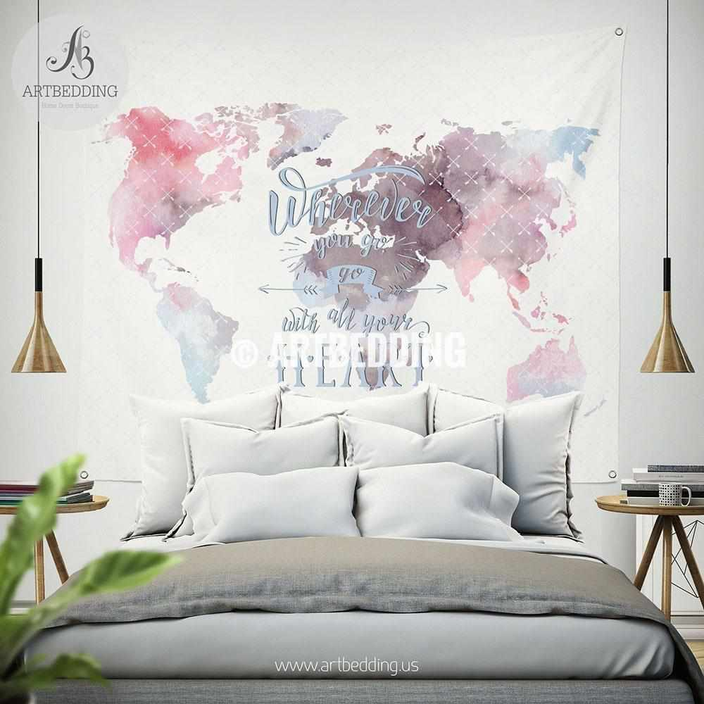 Watercolor world map wall Tapestry, Watercolor quote wall hanging, bohemian wall tapestries, boho wall decor Tapestry