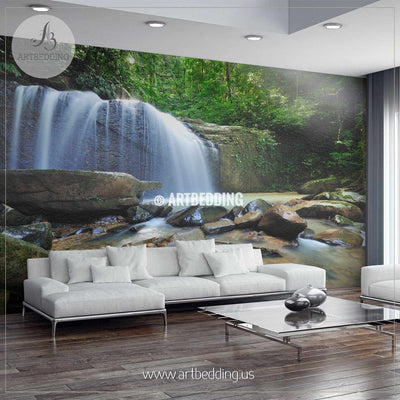 Waterfall in the jungle with early morning rays Wall Mural, Self Adhesive Peel & Stick wall mural wall mural