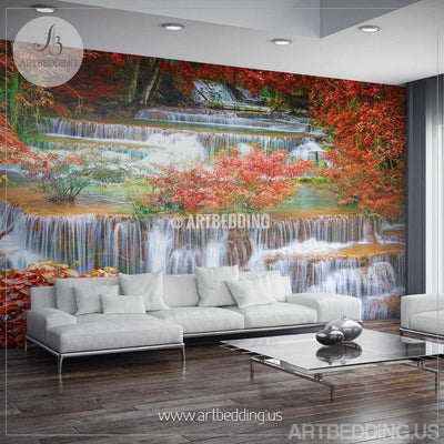 Waterfall Wall Mural, Deep Forest jungle photo mural Self Adhesive Peel & Stick, Nature deep forest waterfall wall mural wall mural