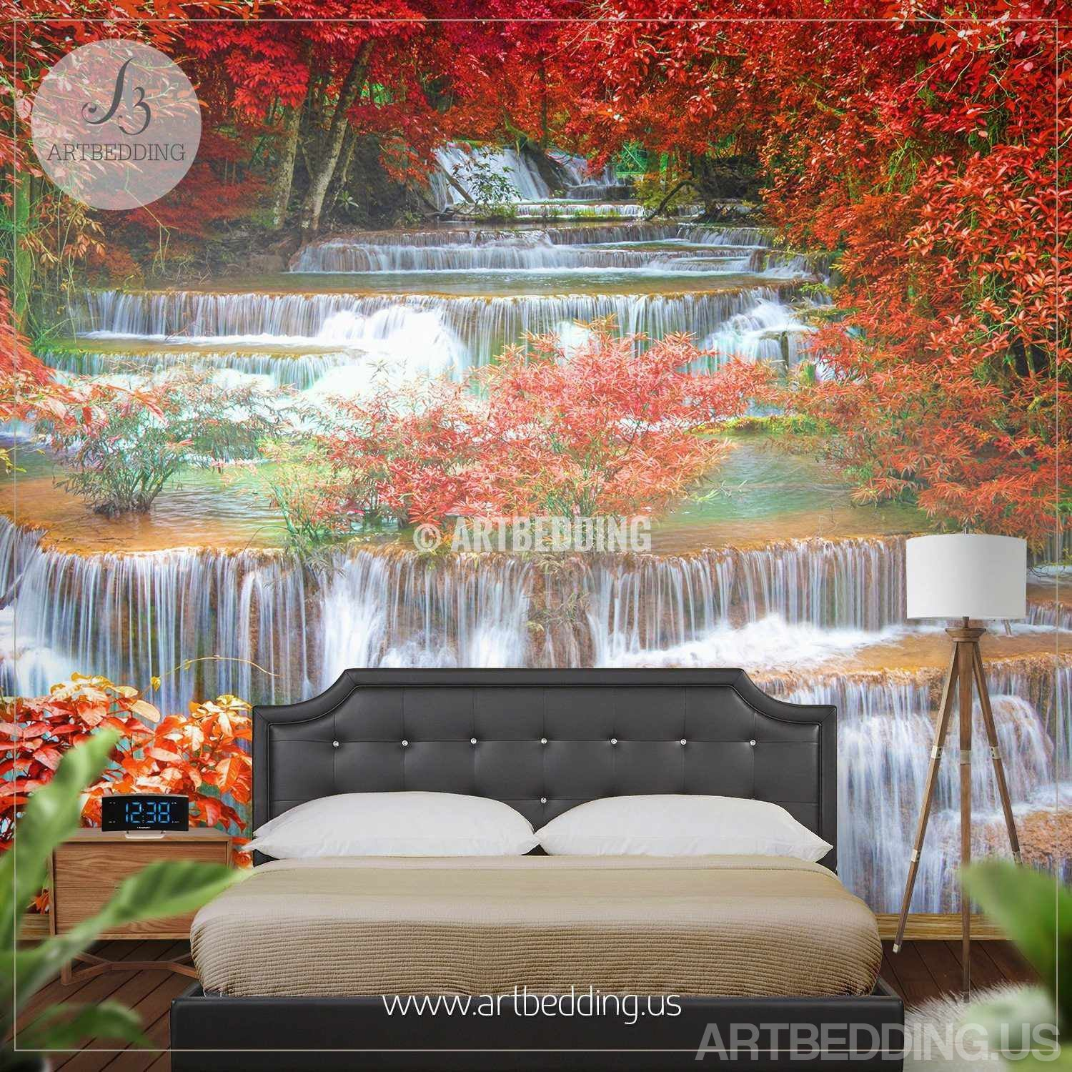 Wall Murals Nature waterfall wall mural, deep forest jungle photo mural - artbedding