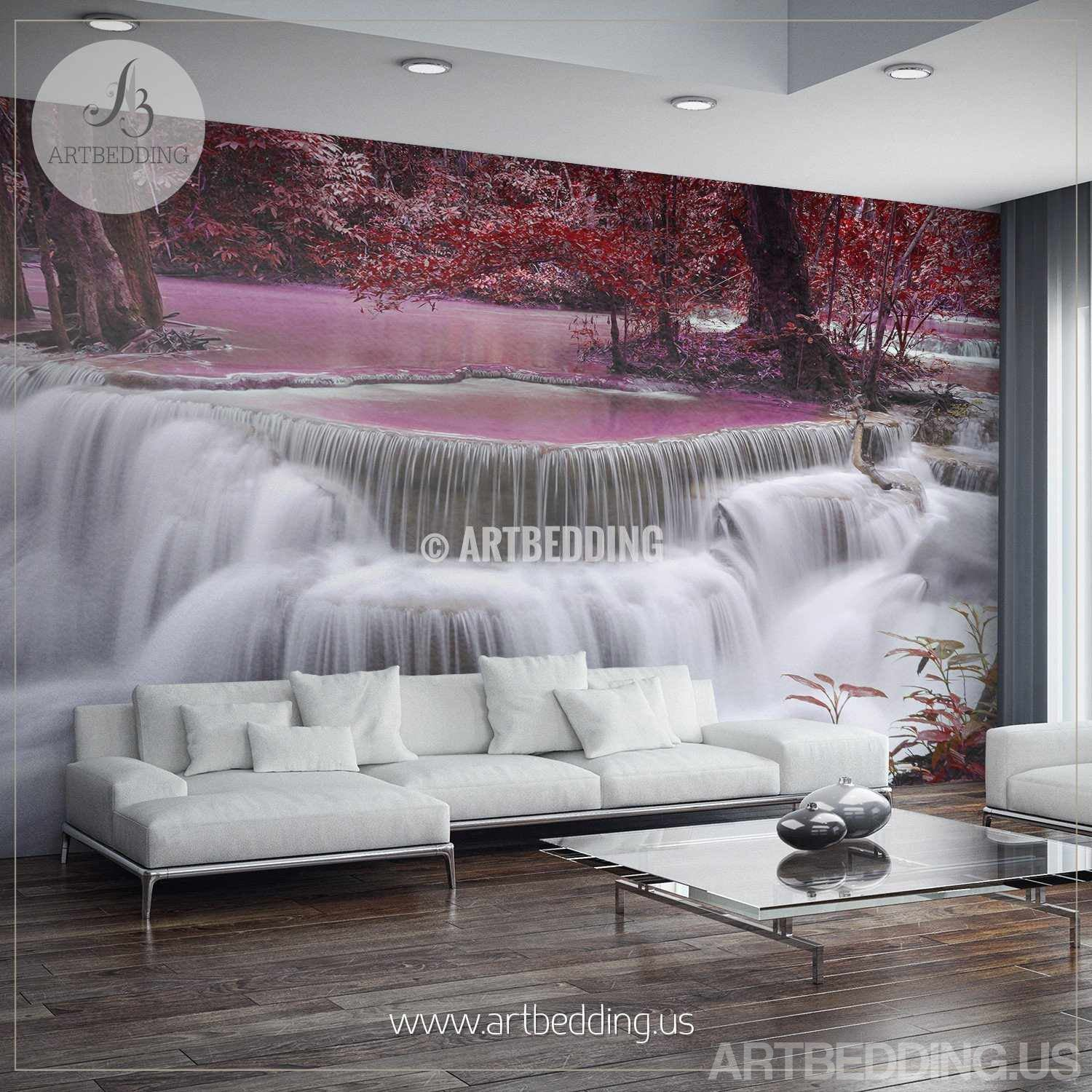 Waterfall Wall Mural Ocean coast Self Adhesive Peel Stick Forest