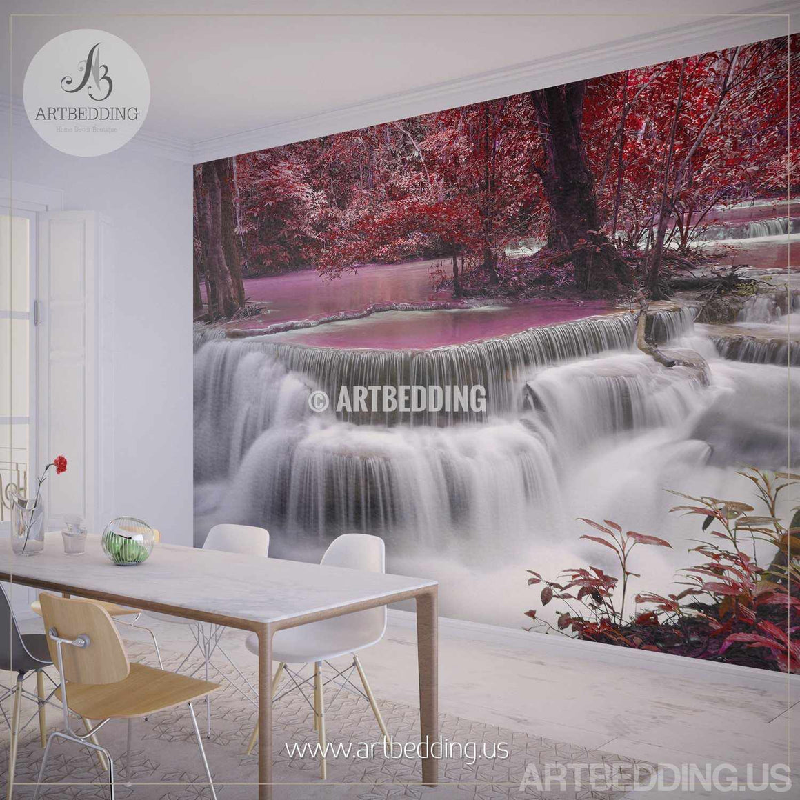 Waterfall Wall Mural, Ocean coast Self Adhesive Peel & Stick, Forest waterfall nature wall mural wall mural