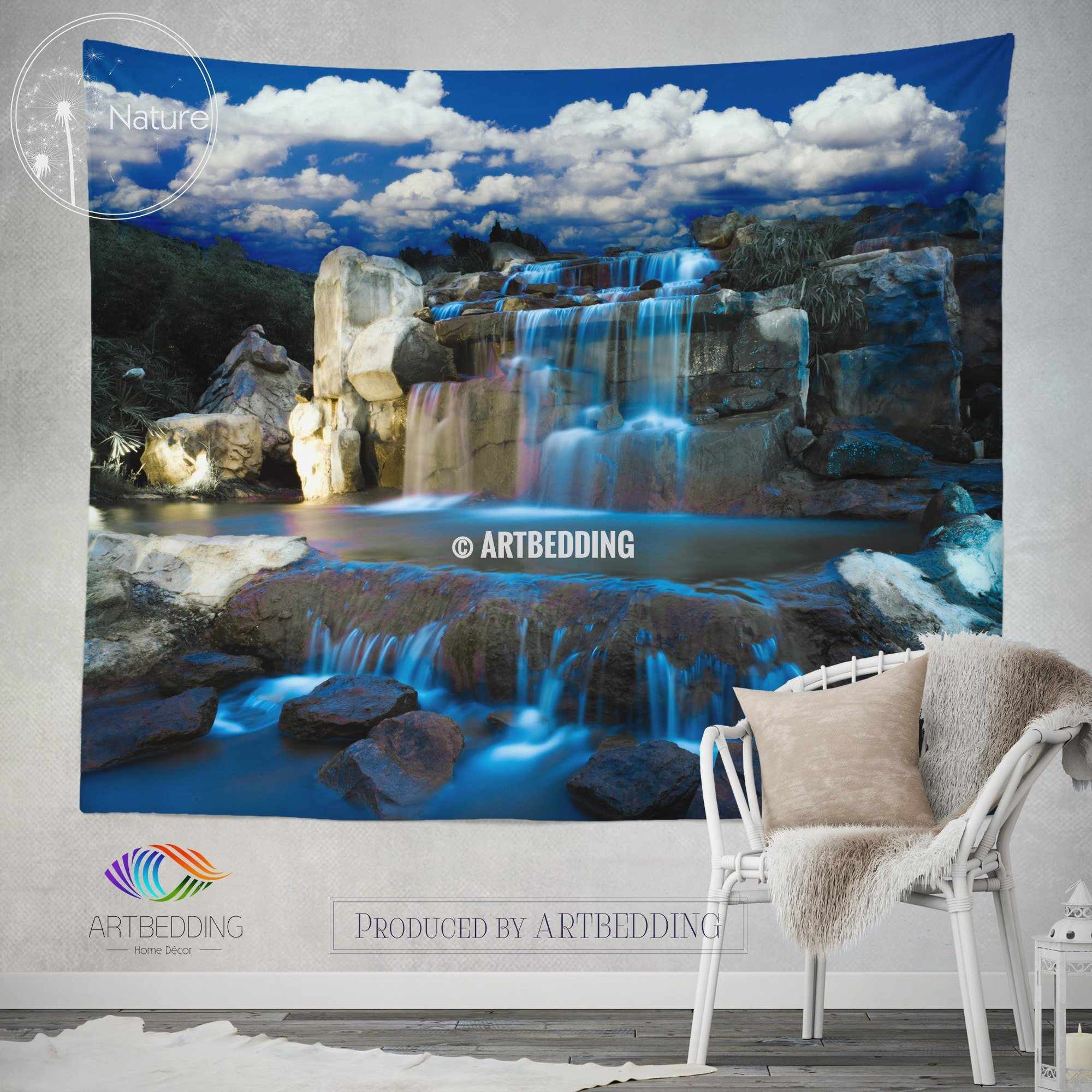 Waterfall Wall Tapestry Nature Decor Night Art Print Bedroom Livingroom Tapestries Boho Hanging Bohemian