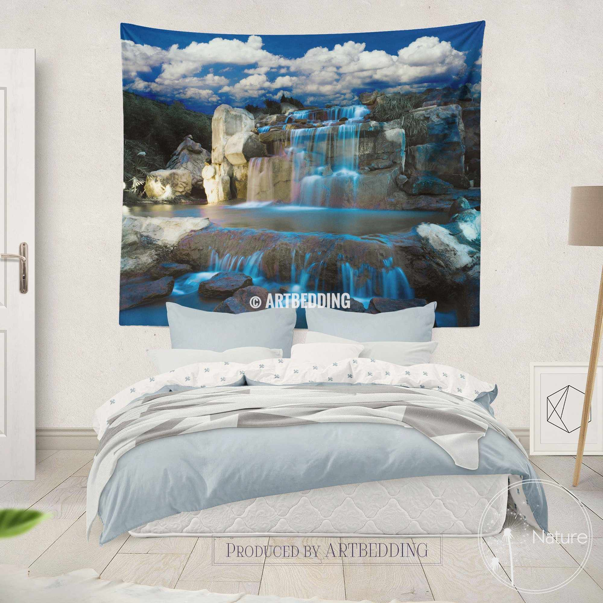 ... Waterfall Wall Tapestry, Nature Wall Decor, Night Waterfall Wall Art  Print, Bedroom Livingroom ...