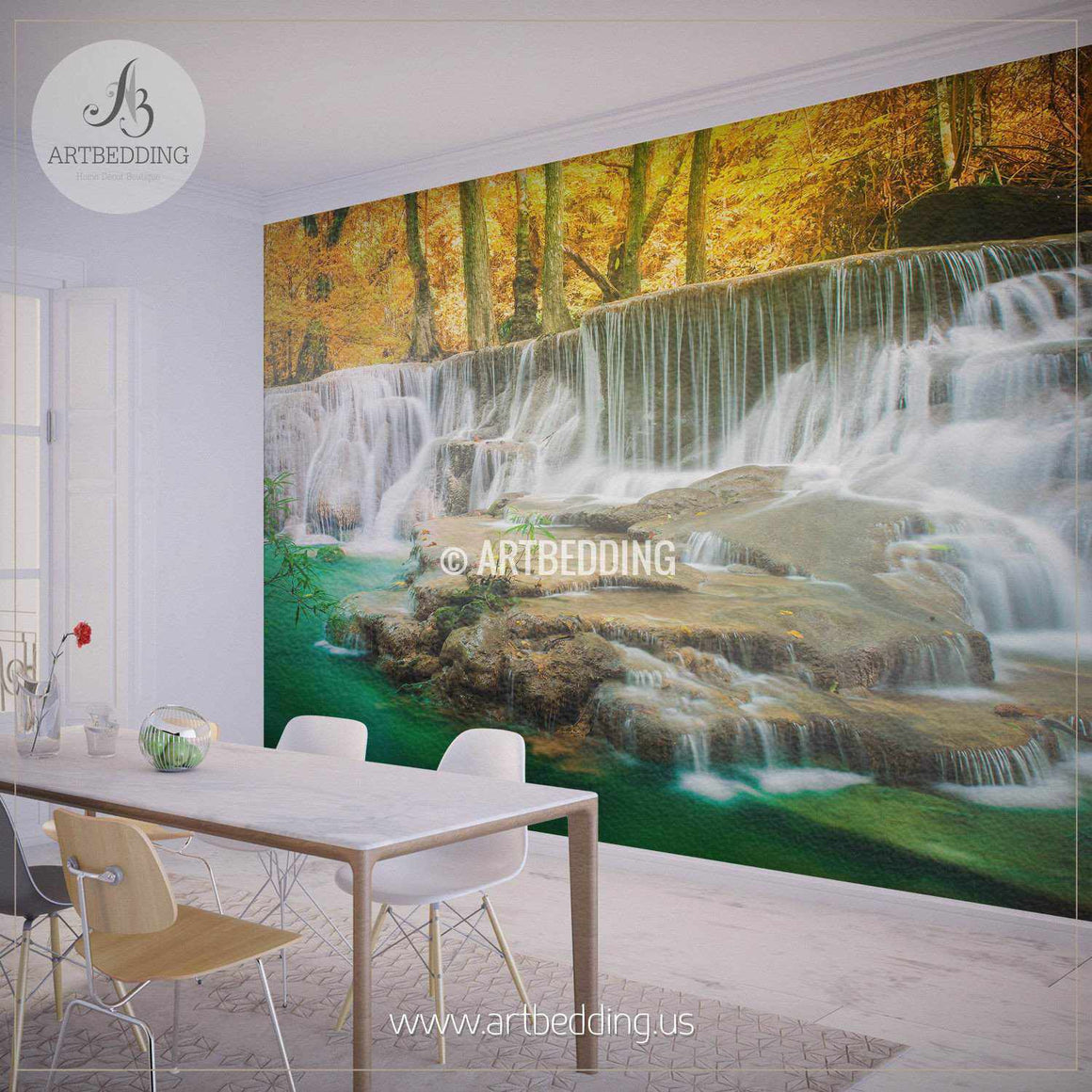 Waterfalls Springtime Wall Mural, Self Adhesive Peel & Stick Photo Mural, Nature Photo mural home decor wall mural