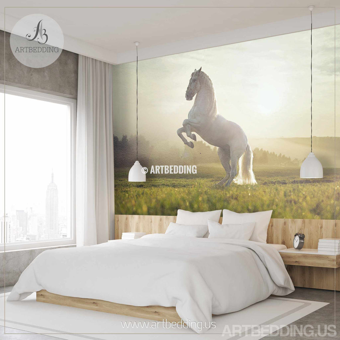 White horse Wall Mural, Wild horse Self Adhesive Peel & Stick Photo Mural, Beautiful white horse wallpaper wall mural