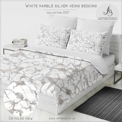 White natural Marble and silver foil Duvet cover, White marble texture with silver foil veins metallic pattern art print duvet cover, marble bedding, artbedding duvet cover