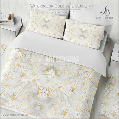White watercolor gold geometry Duvet cover, White and gray watercolor texture with gold foil geometry elements duvet cover, artbedding duvet cover