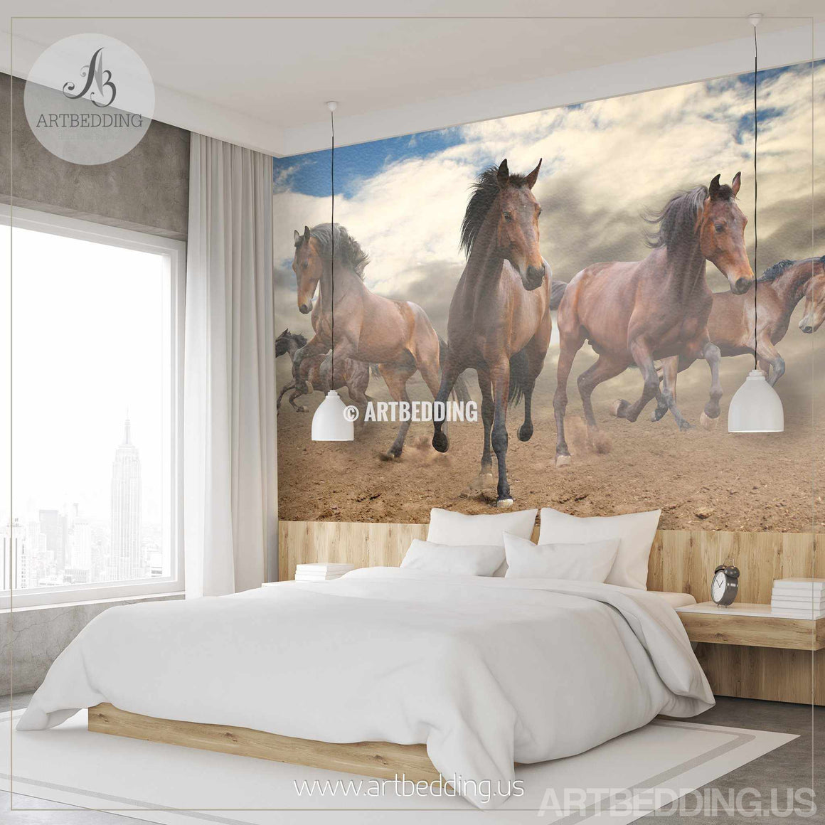 Wild Horses galloping Wall Mural, Self Adhesive Peel & Stick Photo Mural, Wild Horses wall decor wall mural