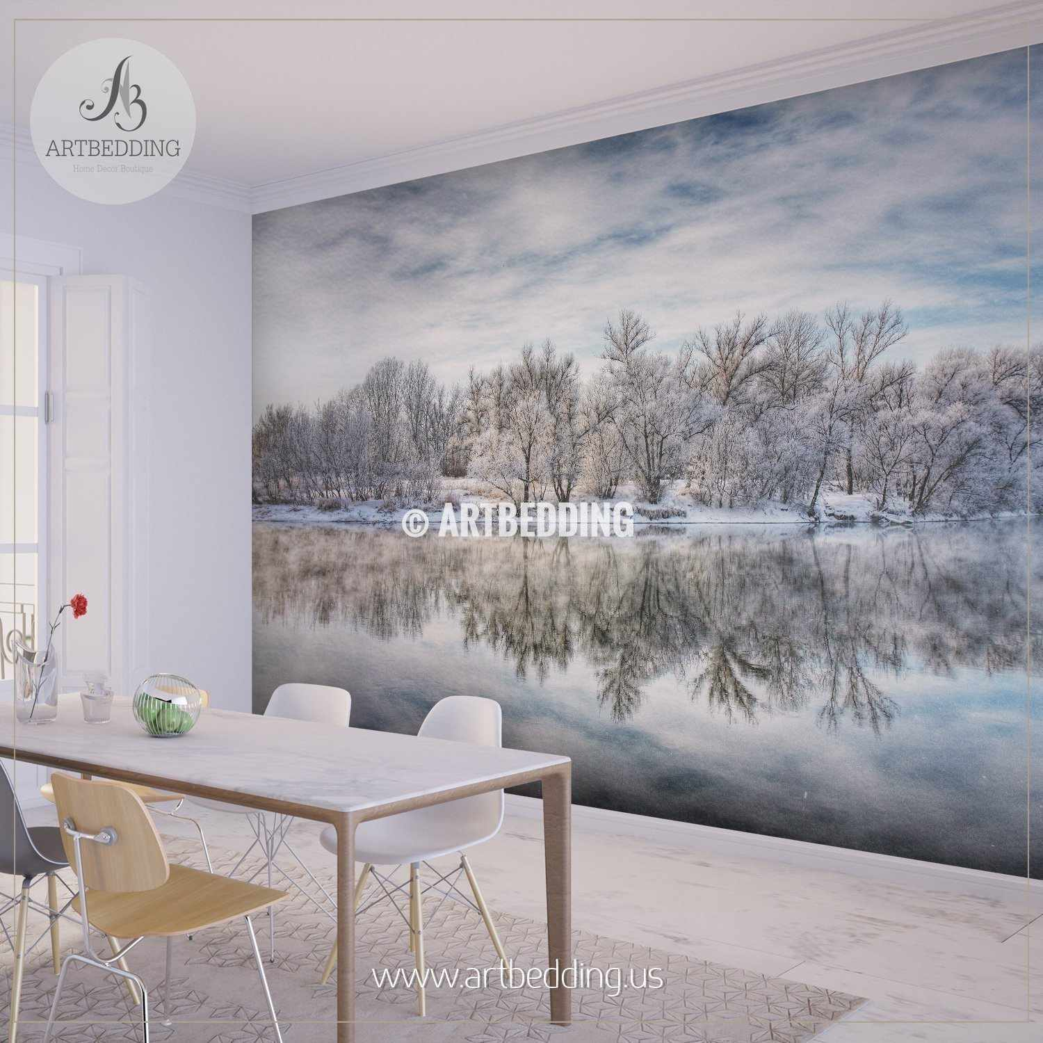 Winter Forest River Wall Mural Self Adhesive Peel Stick wall