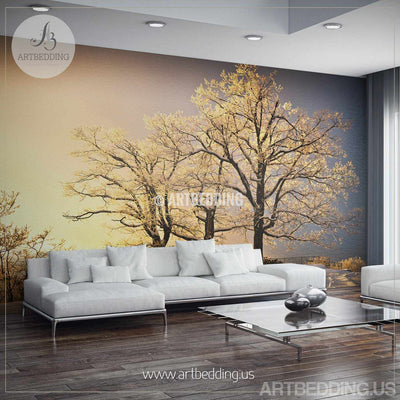 Winter snow scene Wall Mural, Winter trees on sunset Self Adhesive Peel & Stick wall mural, Winter Forest nature wall mural wall mural
