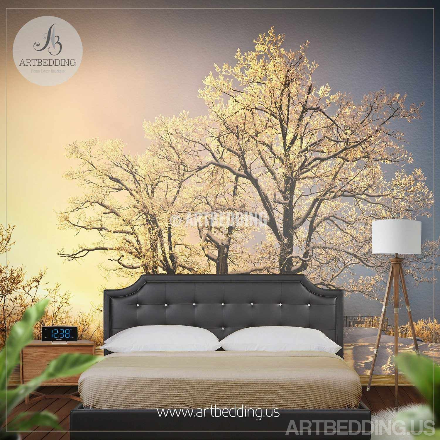 Winter snow scene Wall Mural Winter trees on sunset wall mural
