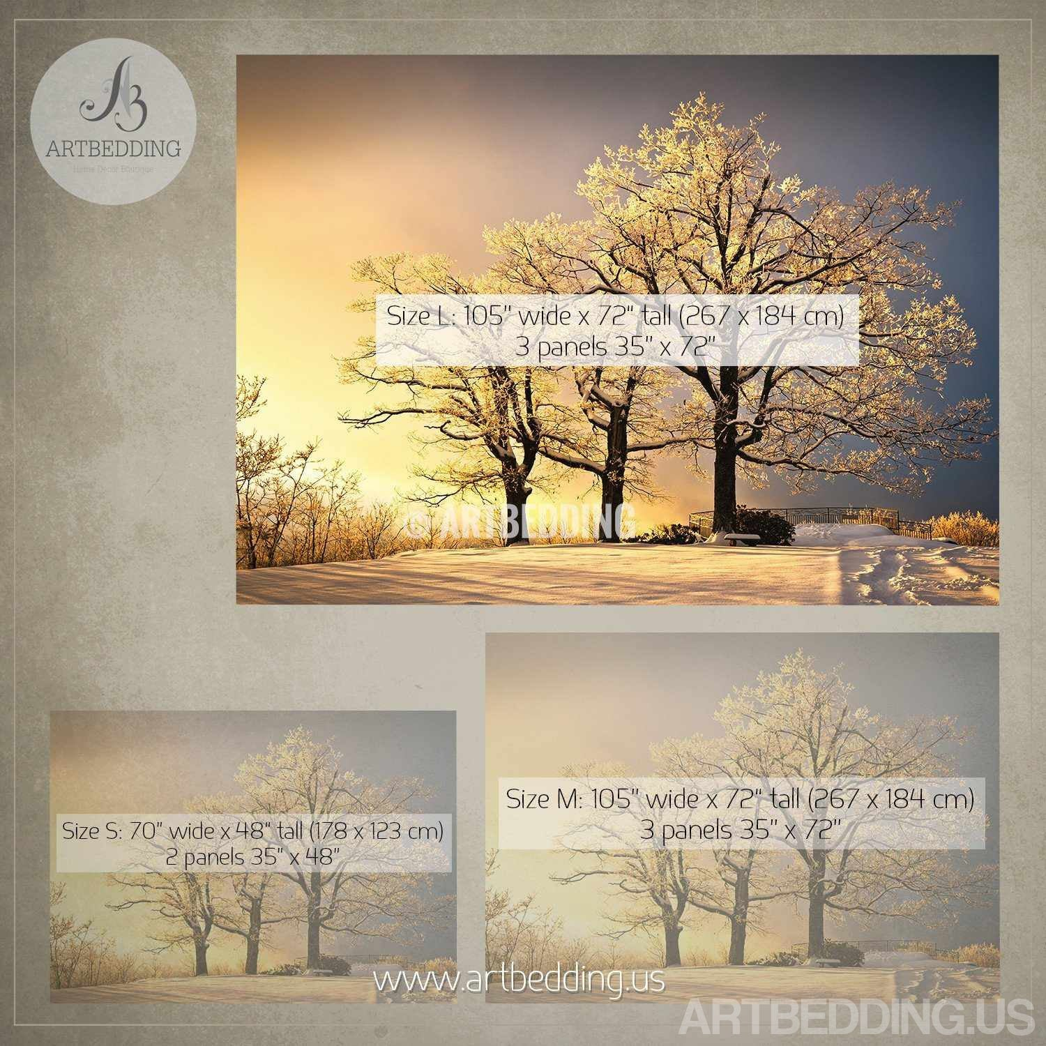 Winter Snow Scene Wall Mural, Winter Trees On Sunset Self Adhesive Peel U0026  Stick Wall ... Part 57