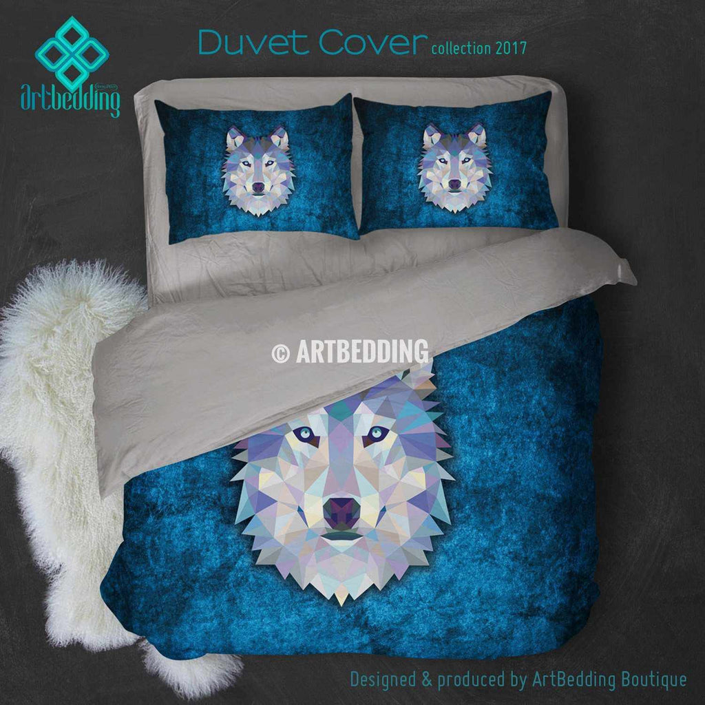 Wolf Animal head geometry Duvet cover, Animal totem duvet cover, Wolf animal duvet, custom designer duvet artbedding