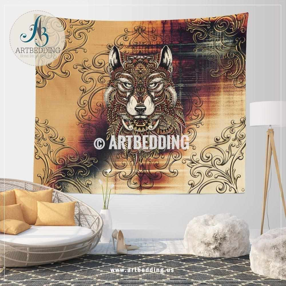 Wolf totem doodle art wall tapestry, Wolf spirit wall hanging, Wolf spirit animal wall art print, totem wall tapestries Tapestry