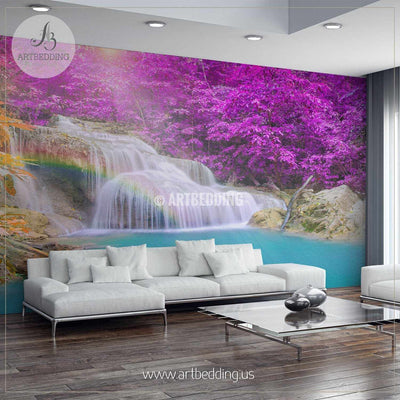 Wonderful Waterfall with rainbows in deep forest at national park in Thailand Wall Mural, Self Adhesive Peel & Stick wall mural wall mural