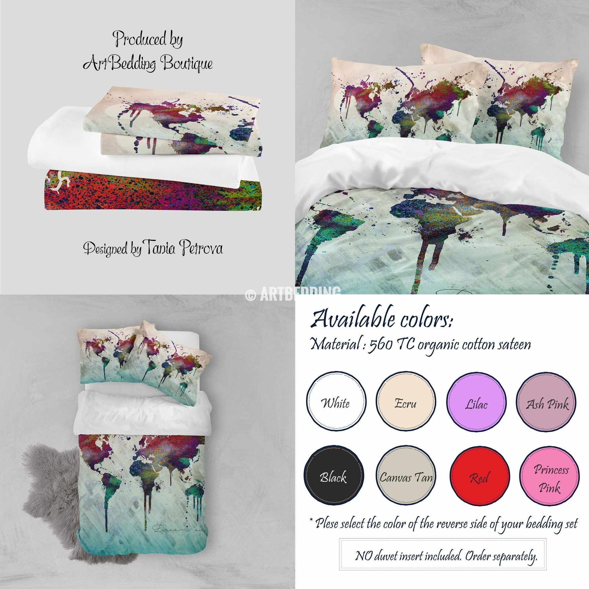 Boho map bedding world map abstract splashes duvet cover set world map abstract splashes print bedding world map art duvet cover set bohemian duvet gumiabroncs Images