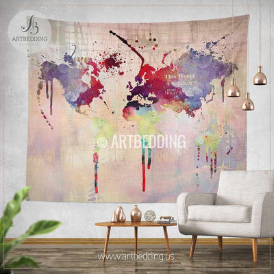 World map abstract watercolor splash wall Tapestry, Grunge world map wall tapestry,Hippie tapestry wall hanging, bohemian wall tapestries, Modern watercolor map tapestries, Watercolor grunge bohemian decor Tapestry