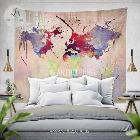 World map abstract watercolor splash wall Tapestry, Grunge world map wall tapestry,Hippie tapestry wall hanging, bohemian wall tapestries, Modern watercolor map tapestries, Watercolor grunge bohemian decor
