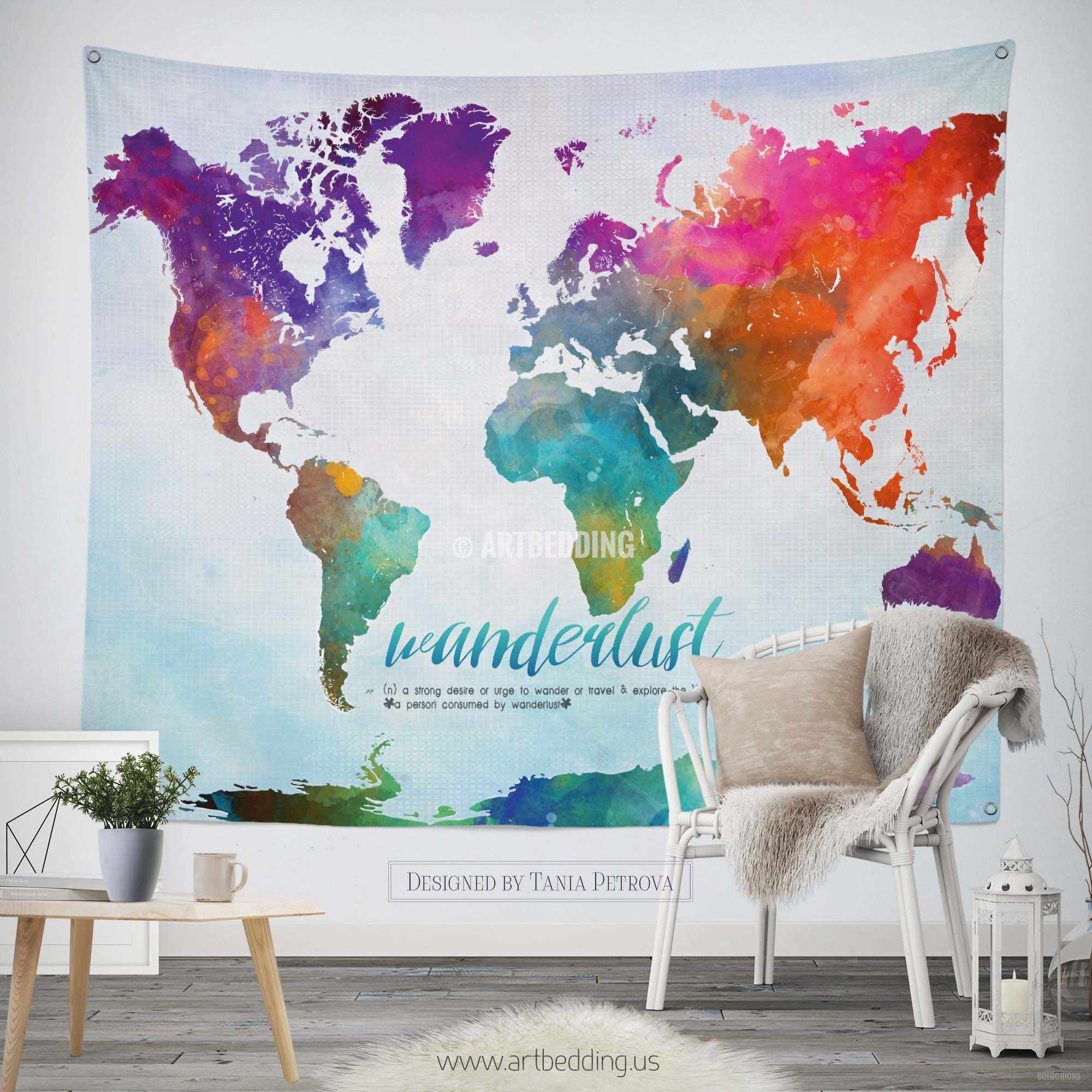World map abstract watercolor wall Tapestry, Grunge world map wall