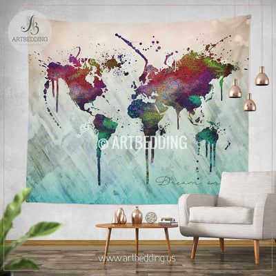 World map abstract watercolor wall Tapestry, Grunge world map wall tapestry,Hippie tapestry wall hanging, bohemian wall tapestries, Modern watercolor map tapestries, Watercolor grunge bohemian decor Tapestry