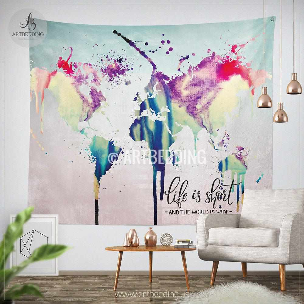 World Map Tapestry Wall Hanging world map abstract watercolor splash wall tapestry, grunge world
