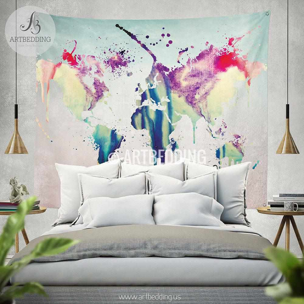 world map abstract watercolor wall tapestry grunge world map wall  -  world map abstract watercolor wall tapestry grunge world map walltapestryhippie tapestry wall
