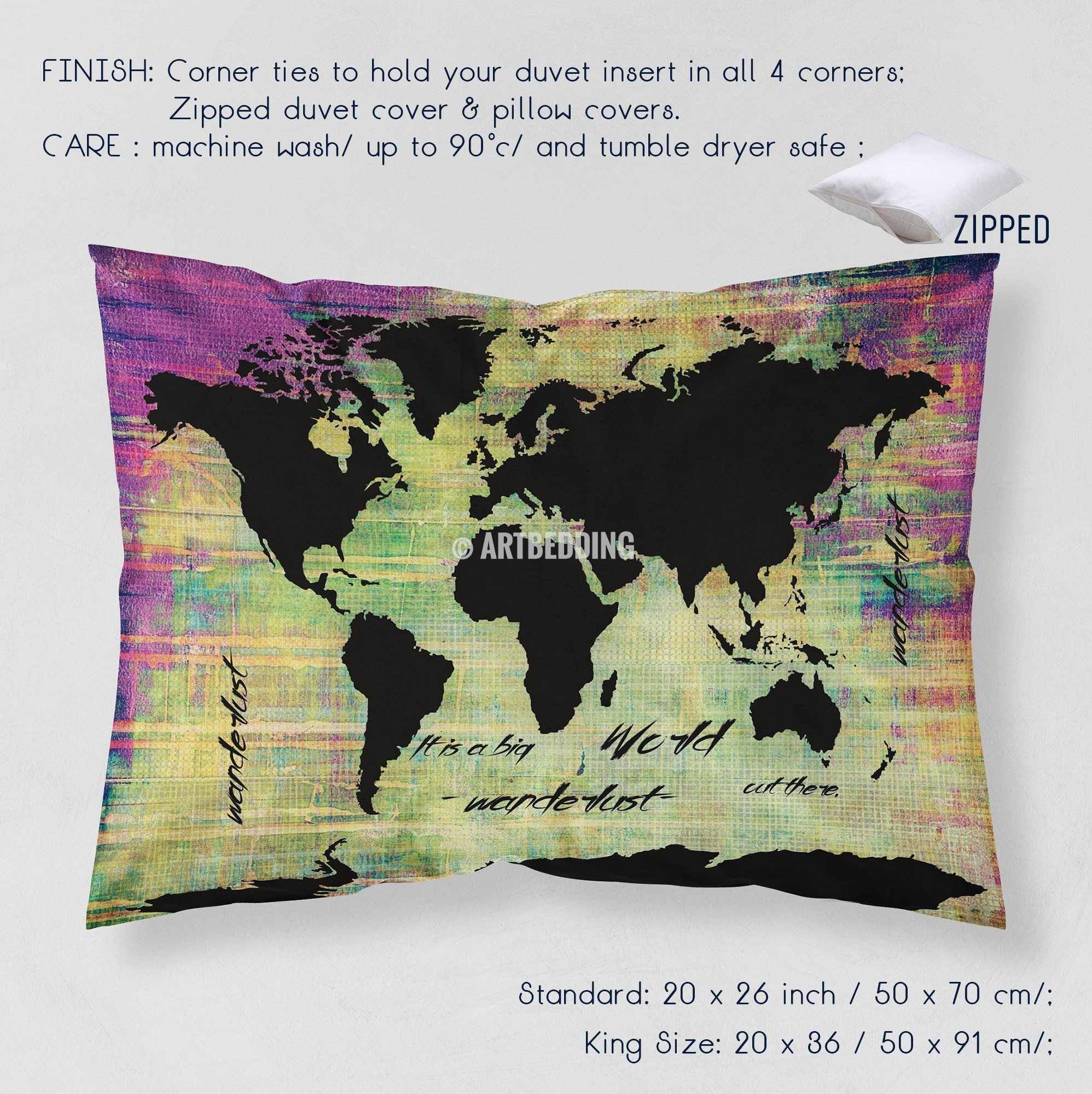 Watercolor world map beddingblack world map neon grunge duvet cover world map neon grunge print bedding world map art duvet cover set bohemian duvet gumiabroncs Image collections