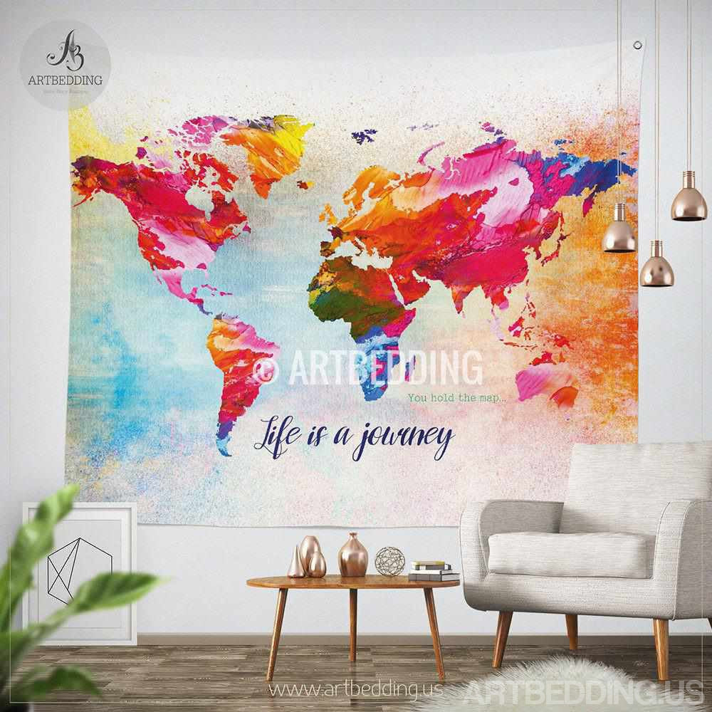 Tapestry World Map World map Quote wall Tapestry, world map watercolor inspirational
