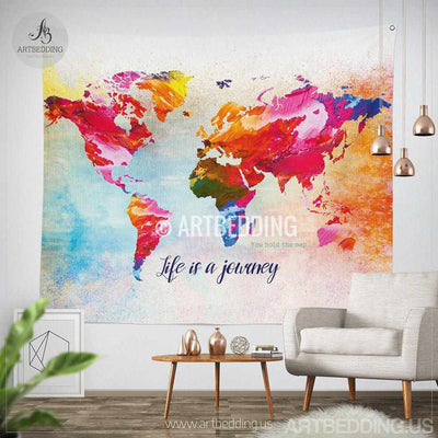 World map Quote wall Tapestry, world map watercolor inspirational quote wall hanging, Splashes of paint World map wall Tapestry, Grunge world map wall tapestry, Hippie tapestry wall hanging, bohemian wall tapestries Tapestry